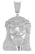 1.90 CTW Mens Natural Diamond Jesus Christ Head Messiah Charm Pendant 10K White Gold - REF-149V9T