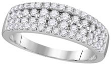 0.96 CTW Natural Diamond Pave Band 10K White Gold - REF-67M5A