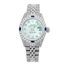 Rolex Pre-owned 26mm Womens Custom Ice Blue Dial Stainless Steel - REF-470W3Y