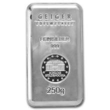 Genuine 250 gram Fine Silver Bar - Geiger Security Series