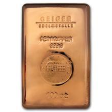 Genuine 100 oz 0.9999 Fine Copper Bar - Geiger Edelmetalle