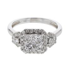 Genuine 0.84 CTW Diamond Cluster  Ring in 14K White Gold - REF-79W5H