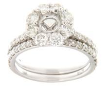 Genuine 1.76 CTW Diamond Wedding Set Ring in 14K White Gold - REF-166A7N