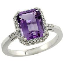 Natural 2.63 ctw amethyst & Diamond Engagement Ring 14K White Gold - REF-42R8Z