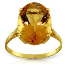 Genuine 6 ctw Citrine Ring Jewelry 14KT Yellow Gold - REF-44A4K