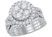 2.50 CTW Natural Diamond Bridal Engagement Ring 14K White Gold - REF-225K2W