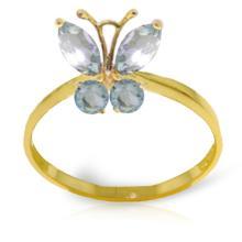 Genuine 0.60 ctw Aquamarine Ring Jewelry 14KT Yellow Gold - REF-30K6V