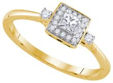0.25 CTW Princess Natural Diamond Solitaire Bridal Engagement Ring 14K Yellow Gold - REF-37M5A