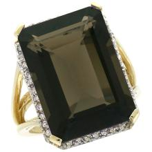 Natural 15.06 ctw Smoky-topaz & Diamond Engagement Ring 14K Yellow Gold - REF-81Z9Y
