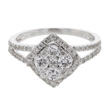 Genuine 0.88 CTW Diamond Cluster  Ring in 14K White Gold - REF-83K3T