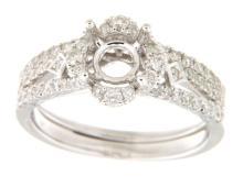 Genuine 0.76 CTW Diamond Engagement  Ring in 14K White Gold - REF-83N3F