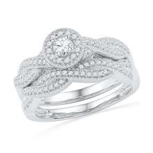 0.5 CTW Natural Diamond Halo Bridal Engagement Ring 10K White Gold - REF-52F5M