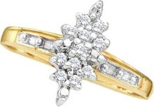 0.1 CTW Natural Diamond Cluster Ring 10K Yellow Gold - REF-11T3K
