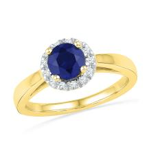1.12 CTW Lab-Created Blue Sapphire Solitaire Ring 10K Yellow Gold - REF-25A4N