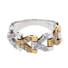 Genuine 0.27 CTW Diamond Fashion  Ring in 18K Two Tone Yellow Gold - REF-68V2A