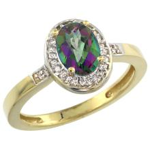 Natural 1.08 ctw Mystic-topaz & Diamond Engagement Ring 14K Yellow Gold - REF-31M3H