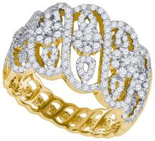 1.06 CTW Natural Diamond Cocktail Ring 10K Yellow Gold - REF-72H4X