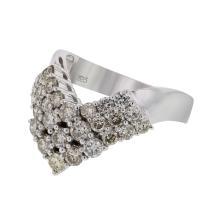 Genuine 1.59 CTW Diamond Fashion  Ring in 14K White Gold - REF-117A4N