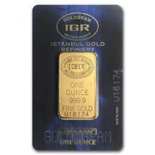 One pc. 1 oz .9999 Fine Gold Bar - Istanbul Gold Refinery In Assay