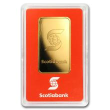 One pc. 1 oz .9999 Fine Gold Bar - Scotiabank In Assay
