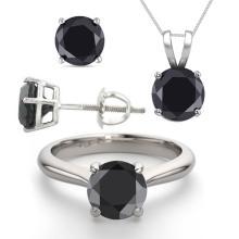 14K White Gold Jewelry SET 6.0CTW Black Diamond Ring, Earrings, Necklace - REF#449X8W-WJ13344