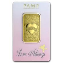 One pc. 1 oz .9999 Fine Gold Bar - PAMP Suisse Love Always In Assay