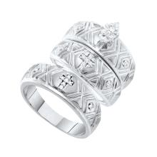 0.14 CTW Marquise Diamond Christian Cross Trio Matching Mens Ring 10K White Gold - REF-52T5K