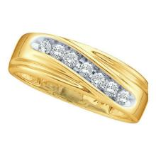 0.25 CTW Channel-set Natural Diamond 8-13 Mens Curved Band 14K Yellow Gold - REF-34K5W