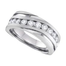 0.25 CTW Mens Diamond Channel-set Anniversary Ring 10KT White Gold - REF-41H2M
