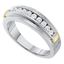 0.52 CTW Mens Channel-set Diamond Single Row Wedding Ring 10KT Two-tone Gold - REF-44M9H