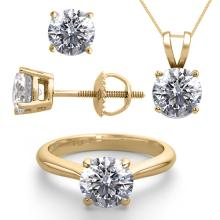 14K Yellow Gold Jewelry SET 6.0CTW Natural Diamond Ring, Earrings, Necklace - REF#1998X4F-WJ13351