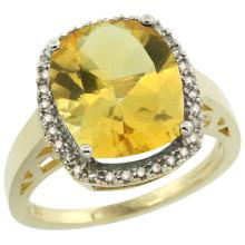 Natural 5.28 ctw Citrine & Diamond Engagement Ring 10K Yellow Gold - SC-CY909124-REF#41A2V