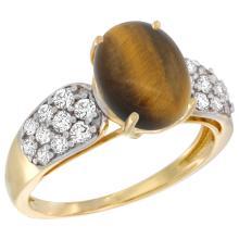 Natural 2.65 ctw tiger-eye & Diamond Engagement Ring 14K Yellow Gold - SC-R289771Y24-REF#56R2Z