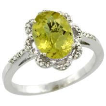 Natural 1.85 ctw Lemon-quartz & Diamond Engagement Ring 10K White Gold - SC-CW927105-REF#28V4F