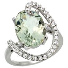 Natural 5.89 ctw Green-amethyst & Diamond Engagement Ring 14K White Gold - SC-R287971W02-REF#91M4H