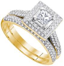 1.0 ctw Diamond Bridal Set Ring 14K Yellow Gold - GD83634-REF#140M3G