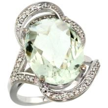 Natural 11.23 ctw green-amethyst & Diamond Engagement Ring 14K White Gold - SC-R309971W02-REF#104R5Z
