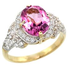 Natural 2.92 ctw pink-topaz & Diamond Engagement Ring 14K Yellow Gold - SC-R183071Y06-REF#102K7R