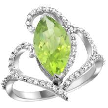 Natural 3.07 ctw Peridot & Diamond Engagement Ring 14K White Gold - SC-R275571W11-REF#77M4H