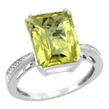 Natural 5.42 ctw Lemon-quartz & Diamond Engagement Ring 14K White Gold - SC-CW427149-REF#60N3G