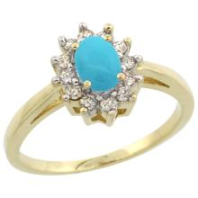 Natural 0.67 ctw Turquoise & Diamond Engagement Ring 14K Yellow Gold - SC-CY418103-REF#49W2K