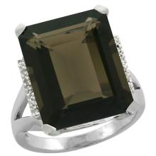 Natural 12.13 ctw Smoky-topaz & Diamond Engagement Ring 14K White Gold - SC-CW407143-REF#71F2N