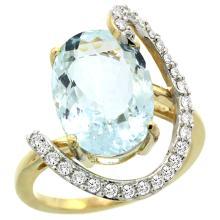 Natural 5.91 ctw Aquamarine & Diamond Engagement Ring 14K Yellow Gold - SC-R287971Y12-REF#121V3F
