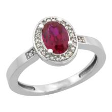 Natural 1.46 ctw Ruby & Diamond Engagement Ring 10K White Gold - SC-CW914150-REF#25R6Z