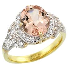 Natural 3.42 ctw morganite & Diamond Engagement Ring 14K Yellow Gold - SC-R183071Y13-REF#126F3N