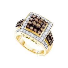1.51 CTW White & Cognac Diamond Ladies Ring 10KT Yellow Gold - GD58799-REF#98T8K
