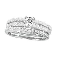 1.0 ctw Diamond Bridal Set Ring 14K White Gold - GD45712-REF#152M8G