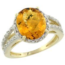 Natural 3.47 ctw Whisky-quartz & Diamond Engagement Ring 14K Yellow Gold - SC-CY426106-REF#45Y3X