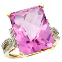 Natural 12.14 ctw Pink-topaz & Diamond Engagement Ring 14K Yellow Gold - SC-CY406134-REF#66Z2Y