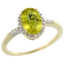 Natural 1.2 ctw Lemon-quartz & Diamond Engagement Ring 10K Yellow Gold - SC-CY927113-REF#16H7W
